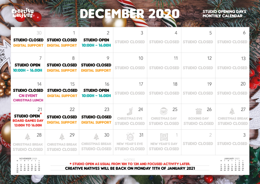 DECEMBER – Studio Open Days Calendar