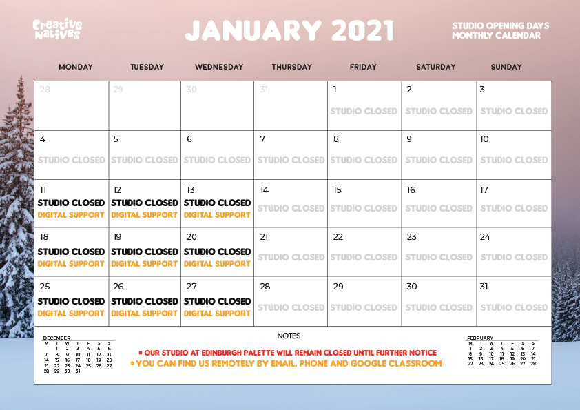 January 2021 – Studio Open Days Calendar