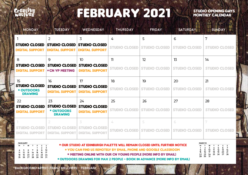 February 2021 – Studio Open Days Calendar