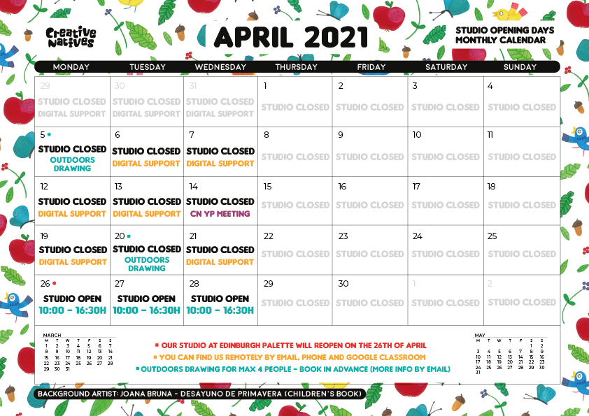 April 2021 – Studio Open days Calendar