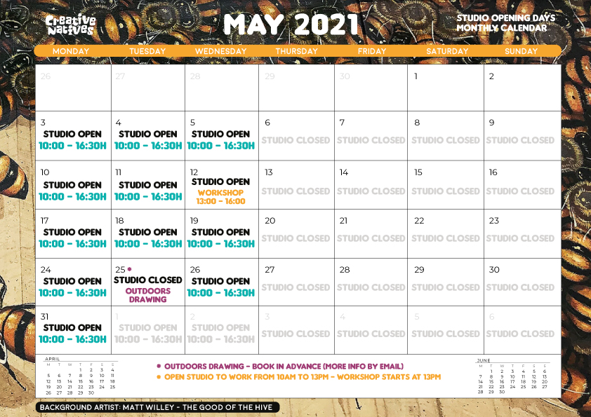May 2021 – Studio Open days Calendar